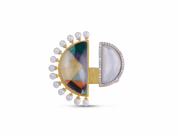 My Colorful Legacy Pearl & Moonstone Diamond Ring by LuvMyJewelry