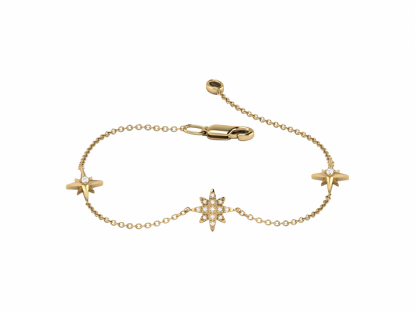 North Star Trio Bracelet in 14 KT Yellow Gold Vermeil on Sterling Silver by LuvMyJewelry